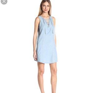 JACK by BB Dakota blue chambray lace up tank dress